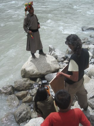 Careful photoshoot alongside the unforgiving Indus.