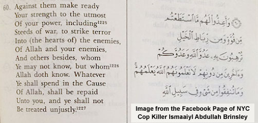 Koran Passage From NY Cop Killer's Facebook Account - ALLOW IMAGES
