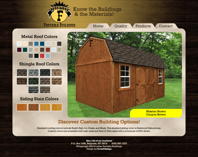 Dynamic Website with Changing Colors and Roofing Options