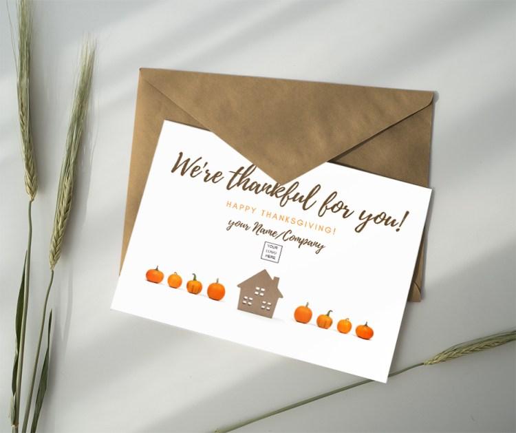 thank you card thanksgiving