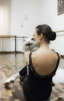 ballet dancer with cat