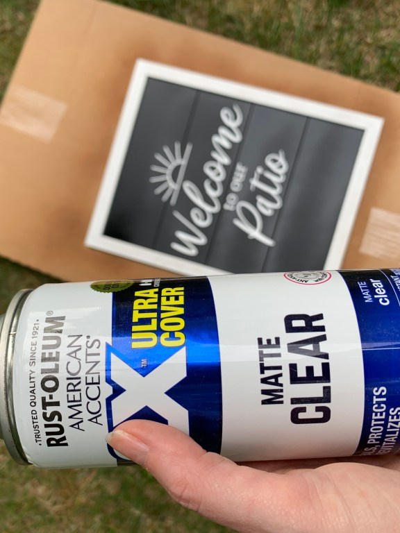 sealing a diy outdoor wood sign with Rustoleum Matte Clear topcoat