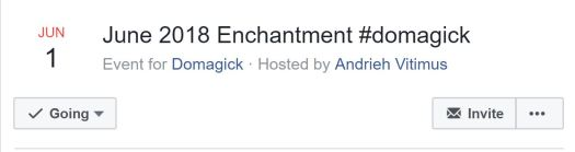 Cropped Screenshot of acceptance of the Facebook Event for the June 2018 Domagick Challenge.
