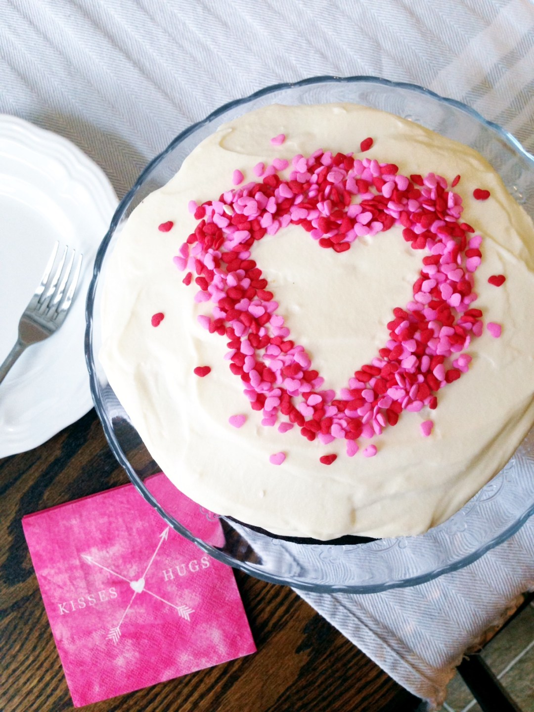 Valentine's Day Chocolate Cake with Whipped Cream Cheese Icing
