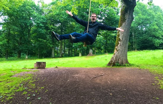 Stephen loving the swing rope at Lowther Castle