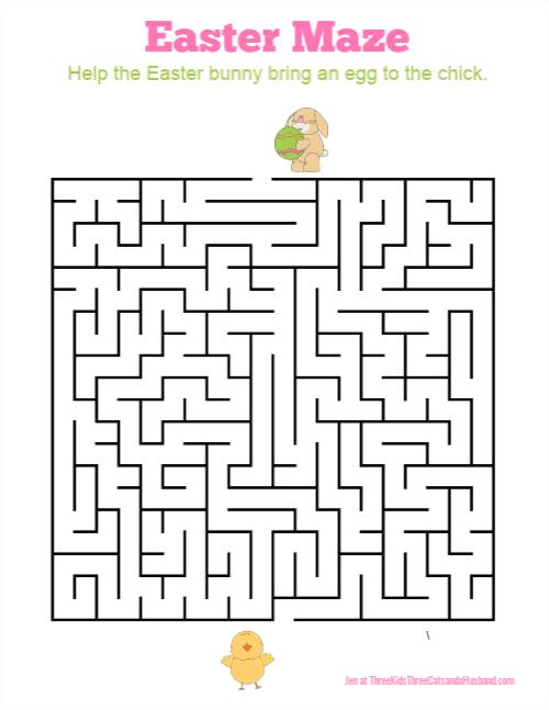 3 Free Printable Easter Bunny Mazes