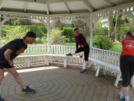 stretching in the gazebo