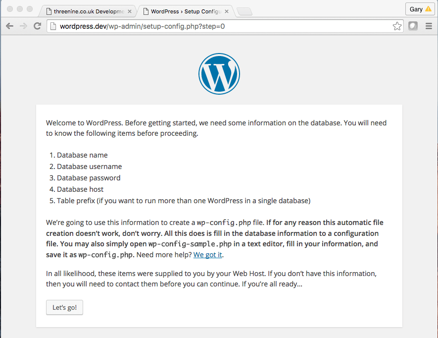 WordPress Set Up Config