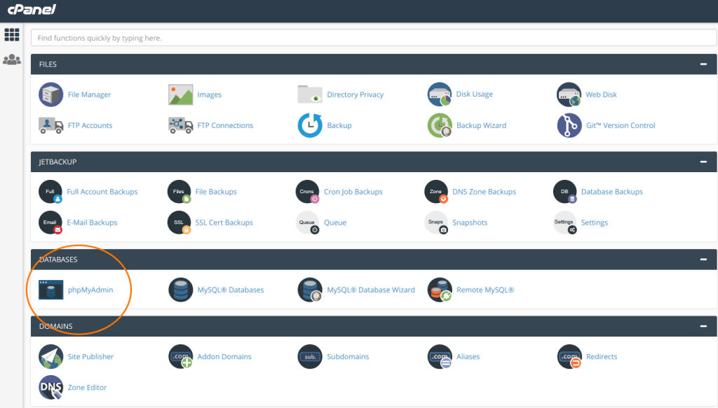 Cpanel theme new