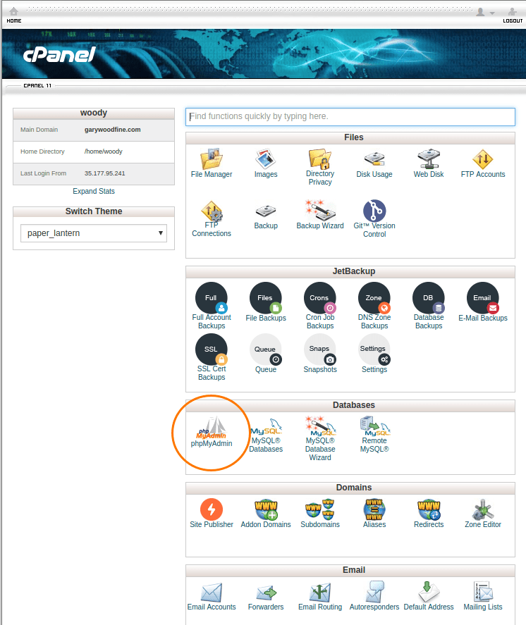 cpanel theme old