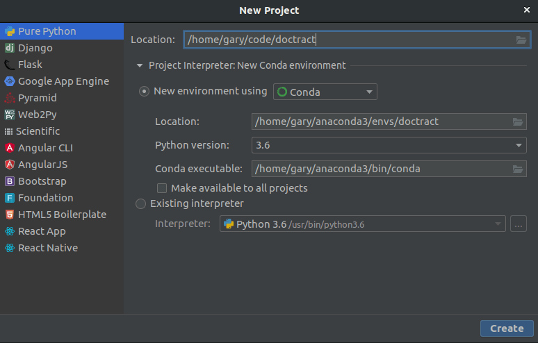 How to start a new Python Project using Pycharm and Conda on