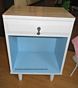 mid-century side table updated with chalk paint and decoupaged top