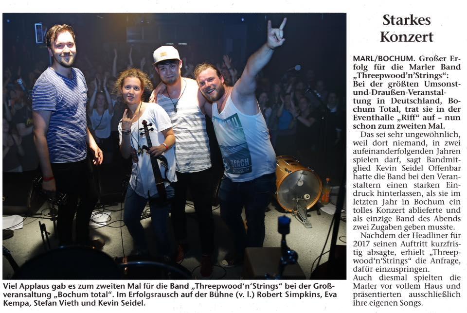 Threepwood N Strings bei Bochum Total 2017 (Marler Zeitung 10.07.2017)
