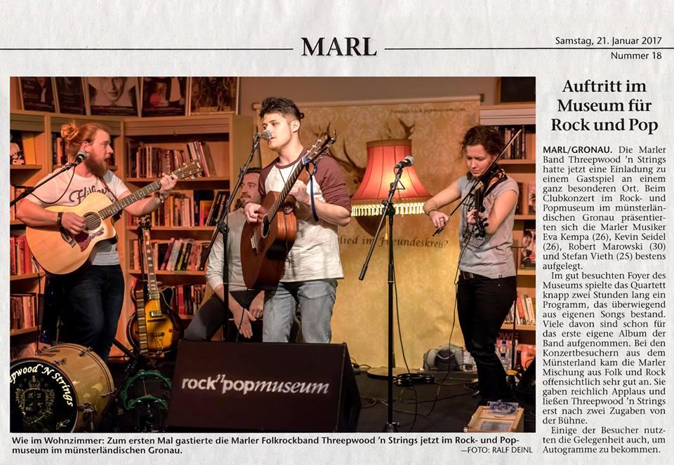 Threepwood N Strings im rock'n'popmuseum Gronau (Marler Zeitung 21.02.2017)