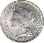 Three Cent Nickel Coin - Front - 1885