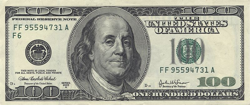 $100 bill.  Ben Franklin invented the carriage odometer.