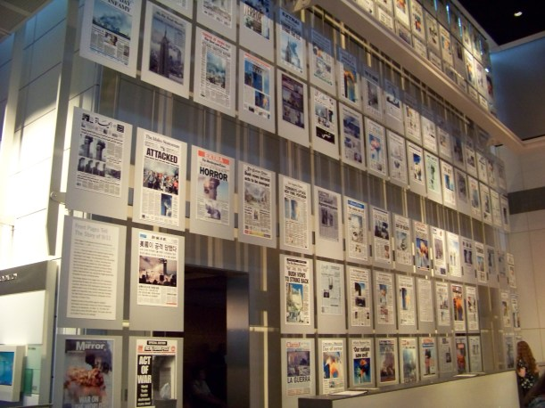 Wall of front pages on 9/11/2001 Photo by Mike Hartley