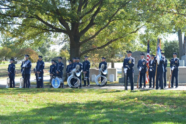 Band at ease before walk to burial ground. Photo by Mike Hartley
