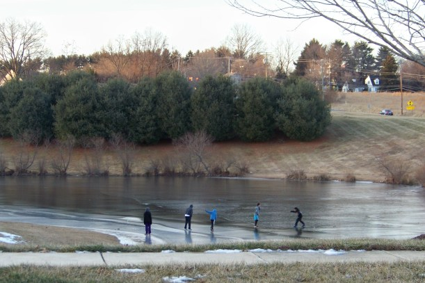 Kids will always test the ice.  Photo by Mike Hartley