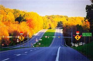 Route 40 looking west in the fall. Nothing better than the next 40 miles of asphalt. Photo by Mike Hartley