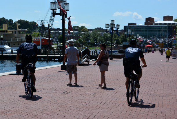 Baltimore police Inner Harbor patrol. Photo by Mike Hartley