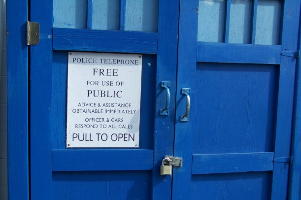 Sign on old Police Call box station. Photo by Mike Hartley