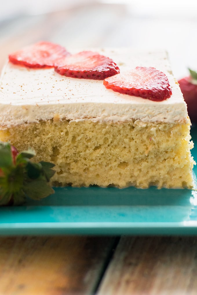 pastel de tres leches is a delicious Latin American cake that is soaked in three types of milk