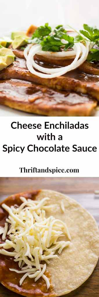 cheese enchiladas with a spicy chocolate sauce makes for a delicious mexican dinner.