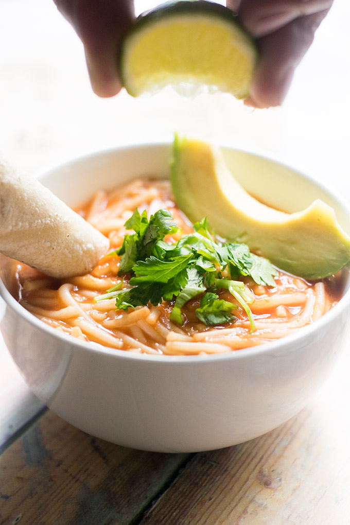 Sopa de Fideo is a yummy Mexican noodle soup. This soup is perfect for lunch or as a light dinner. It's also a cheap meal!