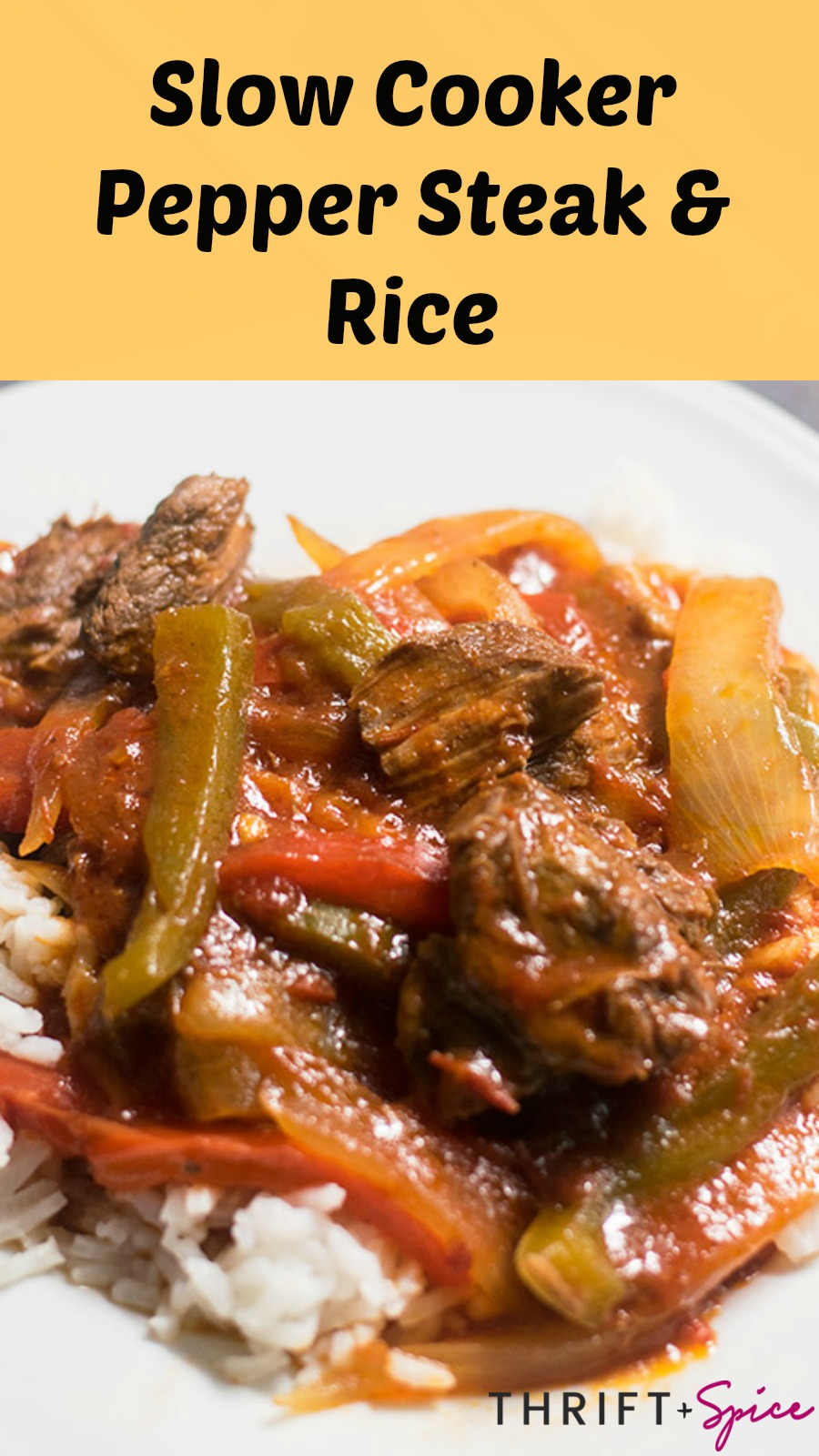 Slow Cooker Pepper Steak and Rice Recipe - Thrift and Spice
