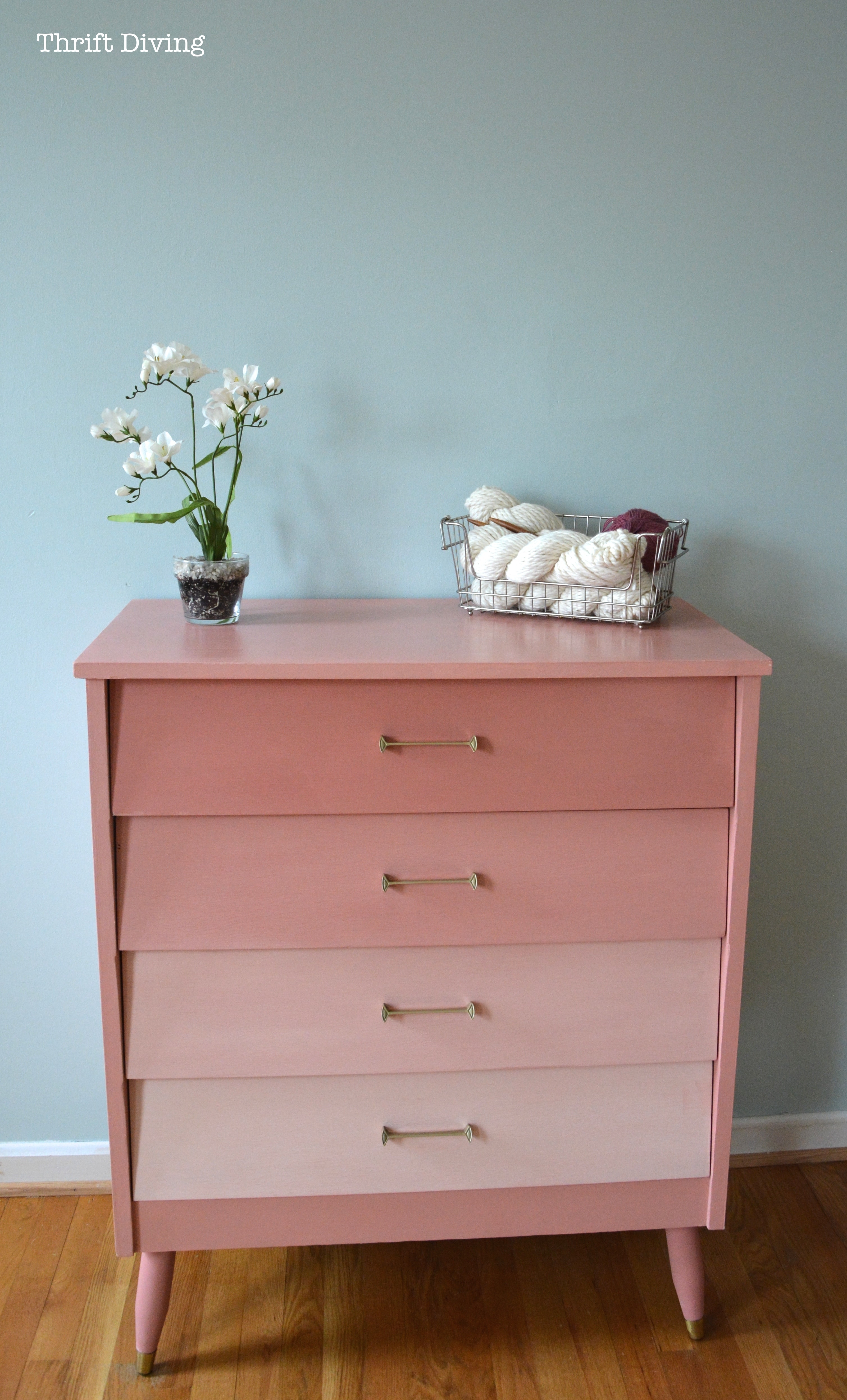 Before And After Pink Mod Ombre Dresser Thrift Diving Blog