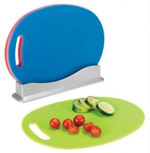 4-Piece Multi-Colored Chopping Board Set with Stand! $12.99 FREE SHIPPING REGULAR $59.99