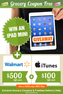 Enter to Win a Ipad Mini, $500 WalMart Gift Card, and a $100 ITunes Gift Card
