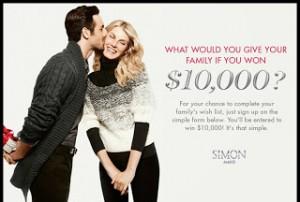 Simon Malls $10,000 Holiday Sweepstakes