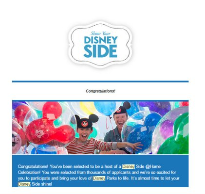 My Approval Email to Host a #DisneySide @Home Celebration Party