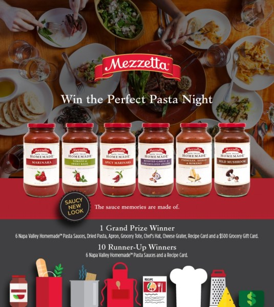 Mezzetta Win the Perfect Pasta Night Sweepstakes
