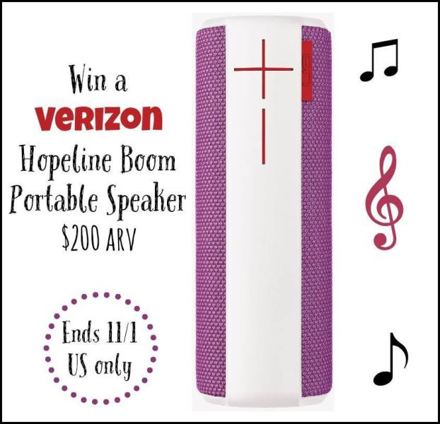 Verizon Hopeline Boom Portable Speaker Giveaway