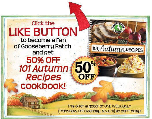 50% Off Gooseberry Patch Autumn Cookbook (Facebook Offer