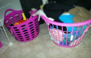 Laundry basket for my workout clothes; a smaller basket for all of my belts