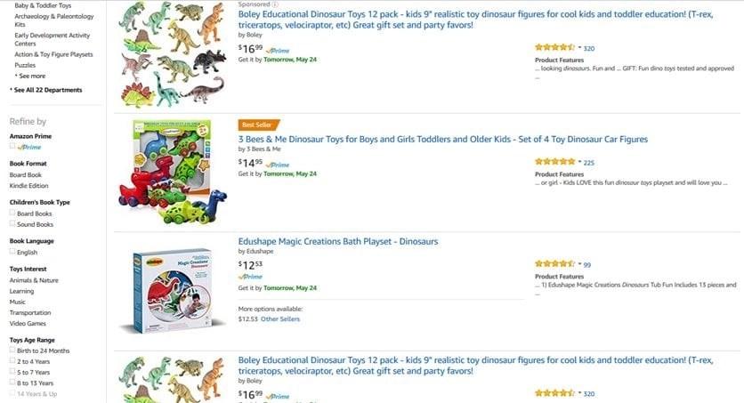screenshot of amazon discounts