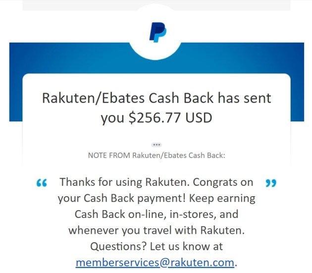 Proof of payment rakuten ebates