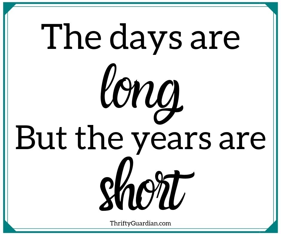 Quote box with the days are long but the years are short