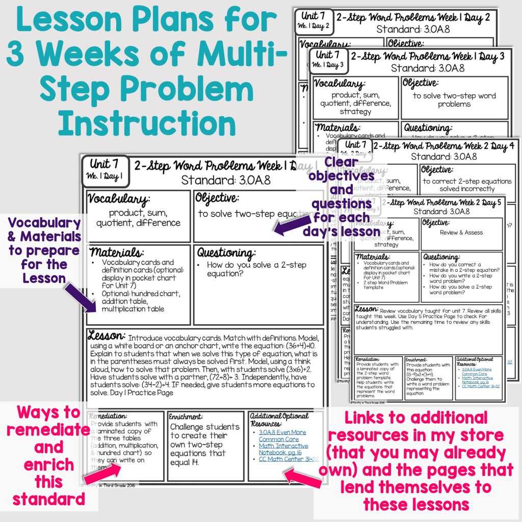 3rd Grade Guided Math Unit 7 Two Step Word Problems