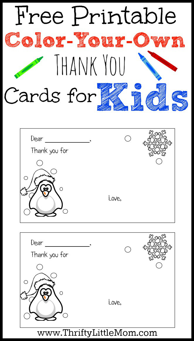 coloryourown printable thank you cards for kids
