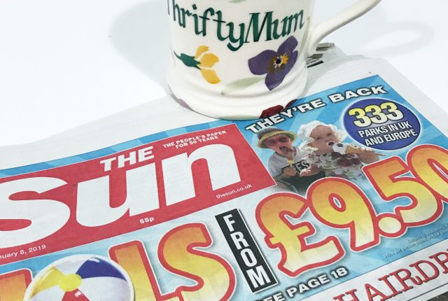 sun newspaper £9.50 holiday codes