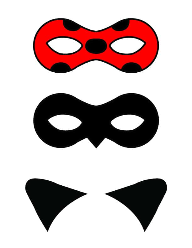 Ladybug and Cat Noir Free Printable Masks