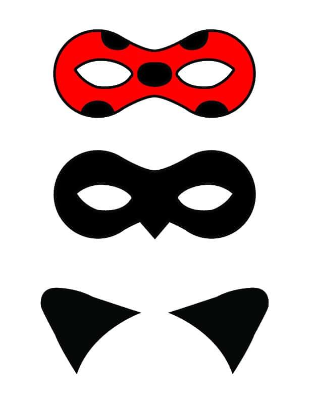 Ladybug And Cat Noir Free Printable Masks