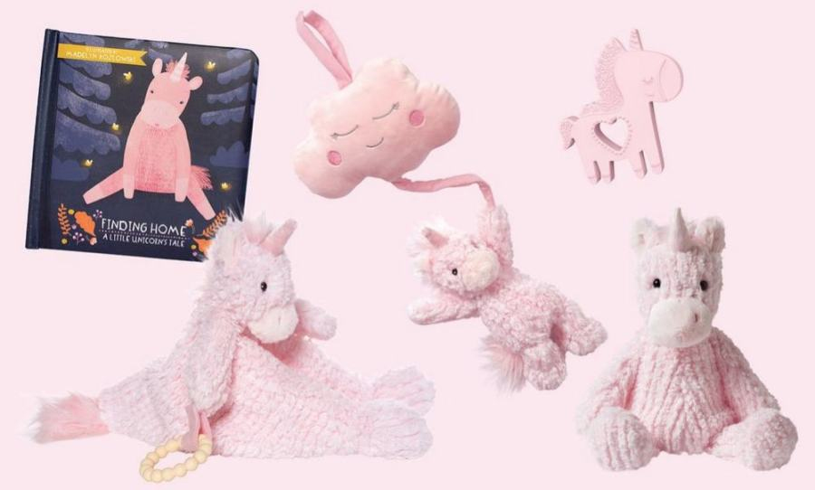 Manhattan Toy Company A Little Unicorn Pink Baby Book & Toy Bundle Set