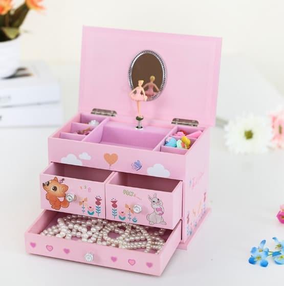 SONGMICS Ballerina Music Jewelry Box