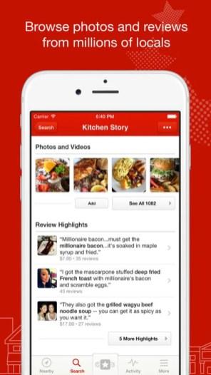 Yelp: View restaurant details